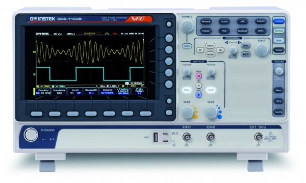 GwInstek GW-GDS-1102B: Digital Storage Oscilloscope - 100 MHz - 2 & Ext Channels - 1 GSa/s - 10 Mpoi