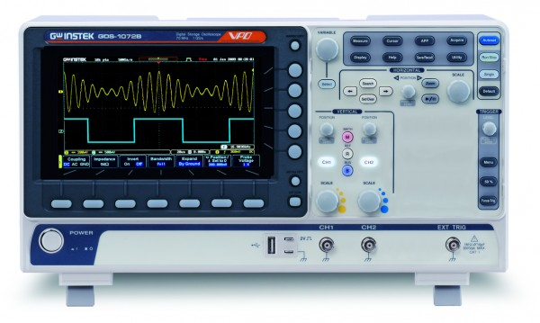 GwInstek GW-GDS-1072B: Digital Storage Oscilloscope - 70 MHz - 2 & Ext Channels - 1 GSa/s - 10 Mpoin