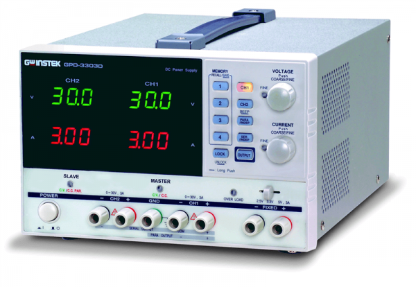 3-Kanal Power Supply - 2 x 0...30V/3 A - 1 x 2.5/3.3/5 V/3A - programmierbar - 100 mV/10 mA Auflösun